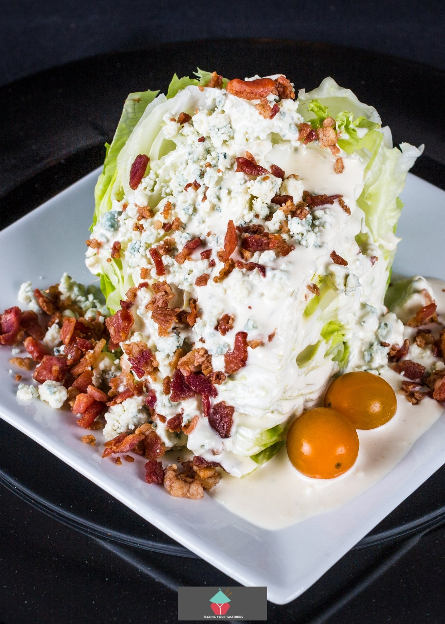 Nanny's VERY Easy Bleu Cheese Salad Dressing, added to iceberg lettuce wedge