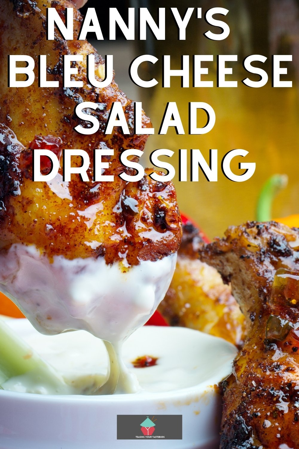 Nanny's VERY Easy Bleu Cheese Salad Dressing is a quick and simple recipe. Use on your salads and also goes great as a dip or serve with party food!