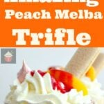Amazing Peach Melba Trifle! Dreamy layers of Lady Fingers, creamy vanilla pudding, peaches, raspberry sauce, whipped cream and meringue cookies. It can't get better than this! | Lovefoodies.com