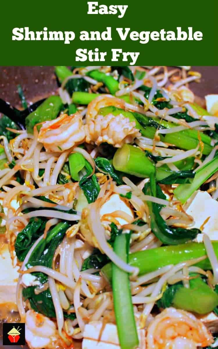 Easy Shrimp and Vegetable Stir Fry Additions of tofu, shrimp, and lovely Chinese vegatables quickly cooked in a delicious Asian sauce makes for a fantastic dinner   Lovefoodies.com