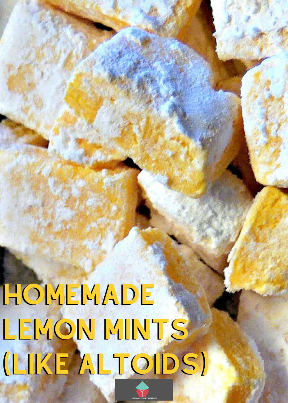 Homemade Lemon Mints are just like the famous Altoid mints, and have a curiously strong flavor. Easy and fun to make little candies!