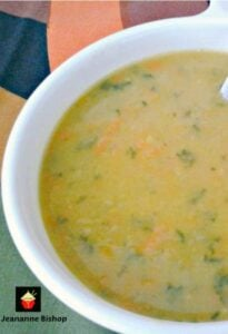 Homemade Split Pea Soup. This is a lovely full flavored made from scratch soup, low cost and very easy to make. Options to add ham or smoked sausage too! Absolutely delicious! | Lovefoodies.com