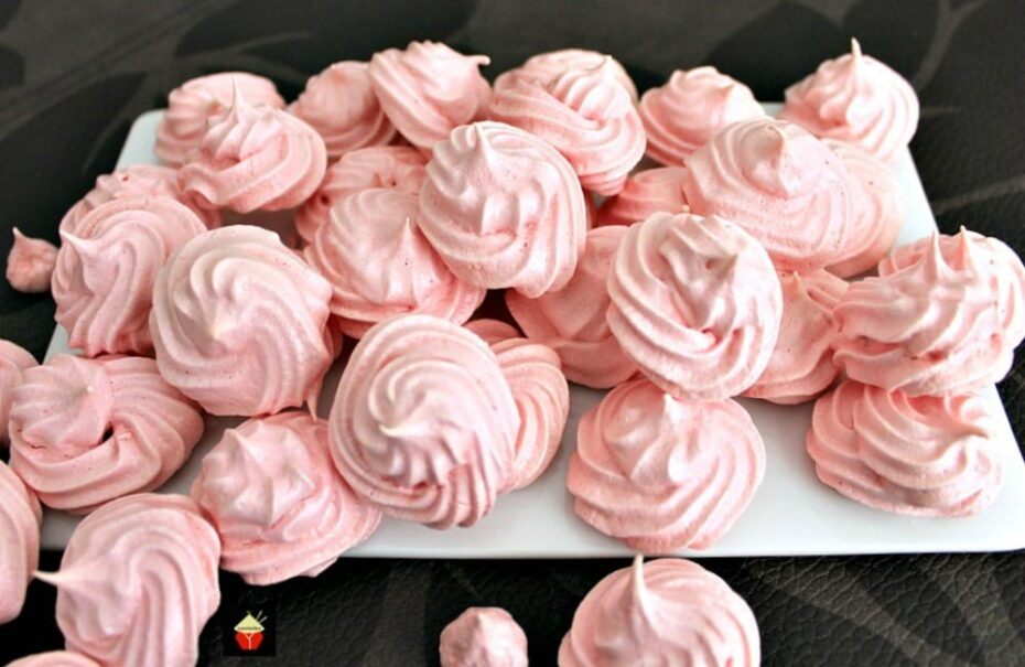 Mini Meringue Cookies! These are a wonderful sweet treat made up of just 2 ingredients. Incredibly easy to make and are perfect for adding to desserts or eating just as they are.   Lovefoodies.com