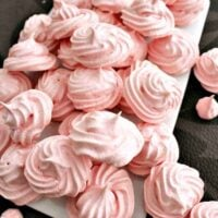 Mini Meringue Cookies! These are a wonderful sweet treat made up of just 2 ingredients. Incredibly easy to make and are perfect for adding to desserts or eating just as they are. | Lovefoodies.com