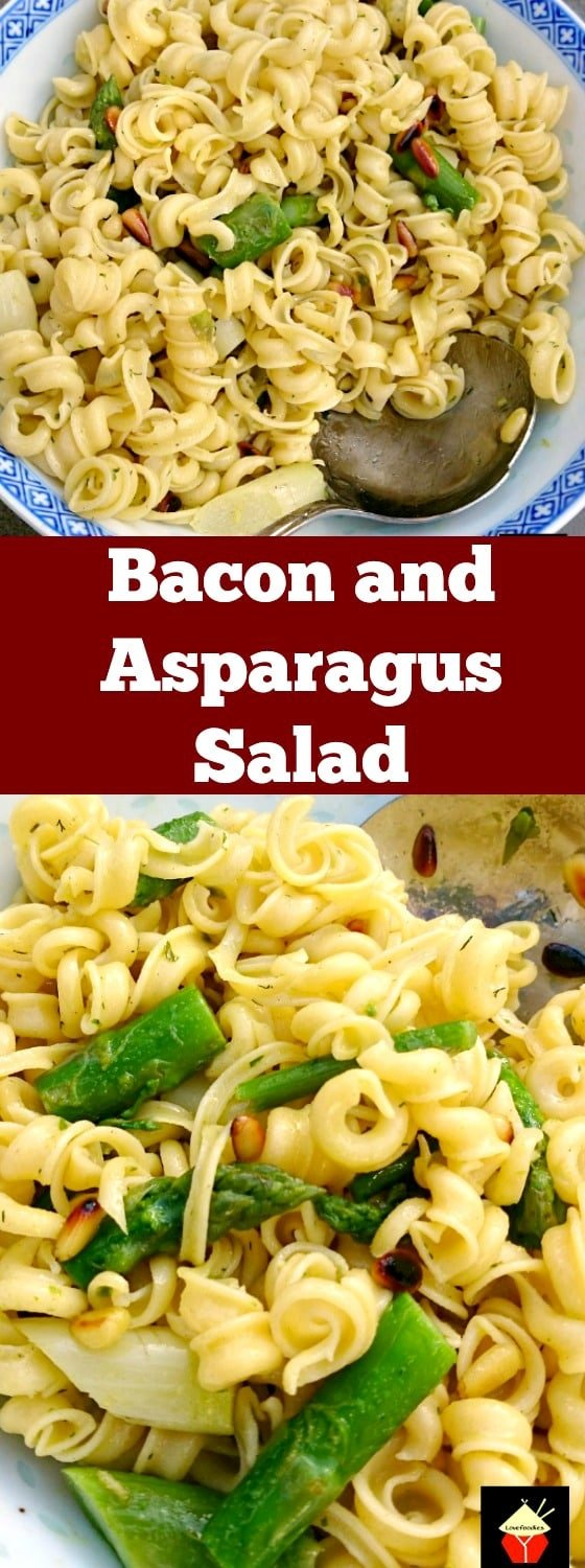 Bacon and Asparagus Pasta Salad is a lovely simple dish, served warm or chilled as a main or side dish. Goes perfect with a BBQ too! | Lovefoodies.com