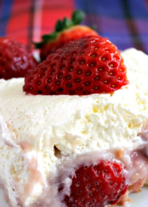 Dreamy Strawberry Dessert, delicious layers of sponge, pureed strawberries, homemade strawberry pudding and fresh strawberries , topped with freshly whipped cream.