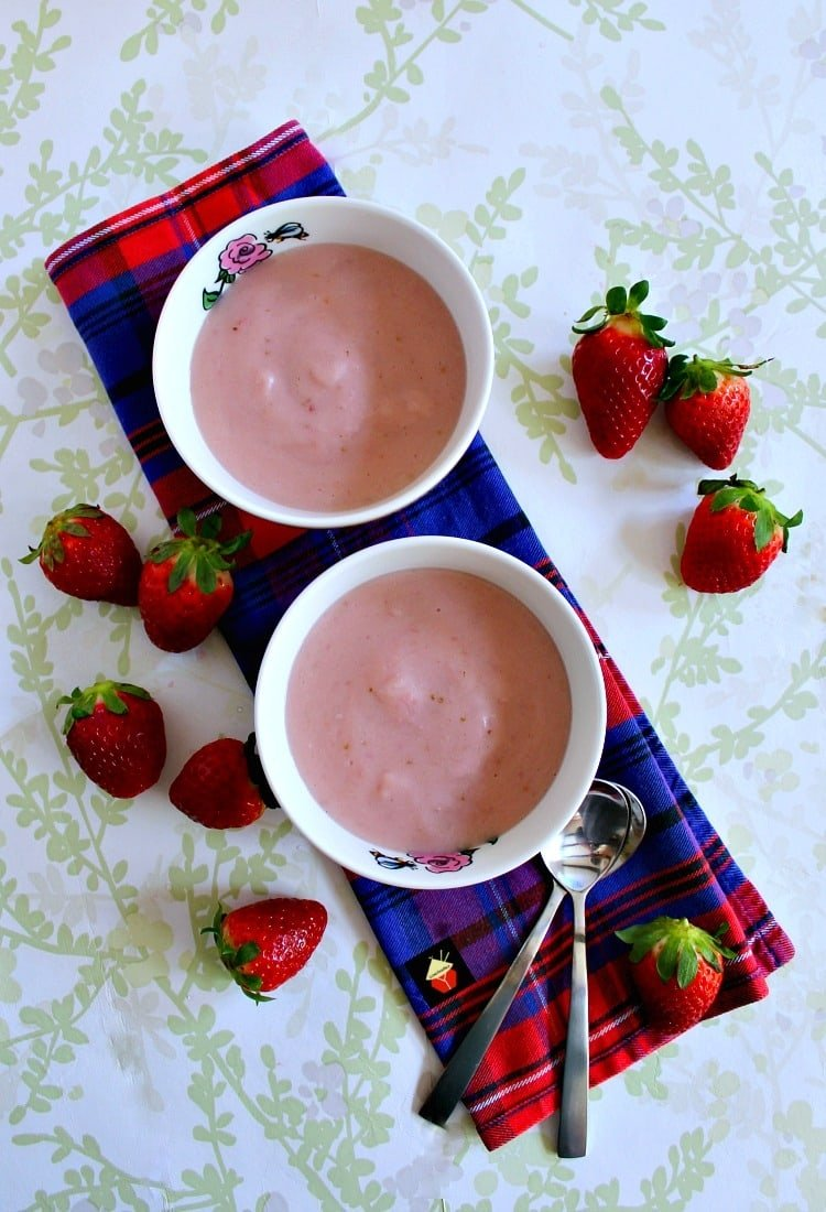 Homemade Strawberry Pudding is so delicious! Made from scratch using fresh ingredients and no additives or artificial coloring. Makes for a great dessert hot or cold. | Lovefoodies.com