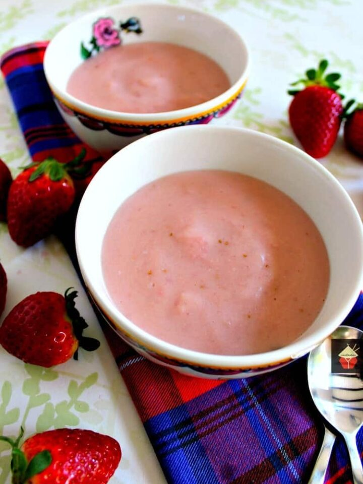 Homemade Strawberry Pudding is so delicious! Made from scratch using fresh ingredients and no additives or artificial coloring. Makes for a great dessert hot or cold.   Lovefoodies.com