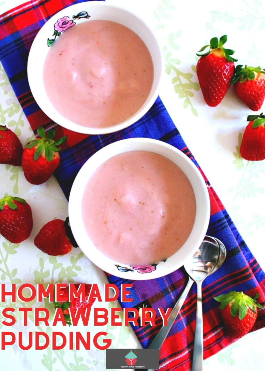 Homemade Strawberry Pudding is so delicious! Made from scratch using fresh ingredients and no additives or artificial coloring. Makes for a great dessert hot or cold.