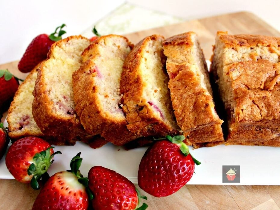 Strawberry Pound Cake. A delicious recipe bursting with fresh strawberries. Soft, moist and perfect with a morning coffee or to take to friends! | Lovefoodies.com