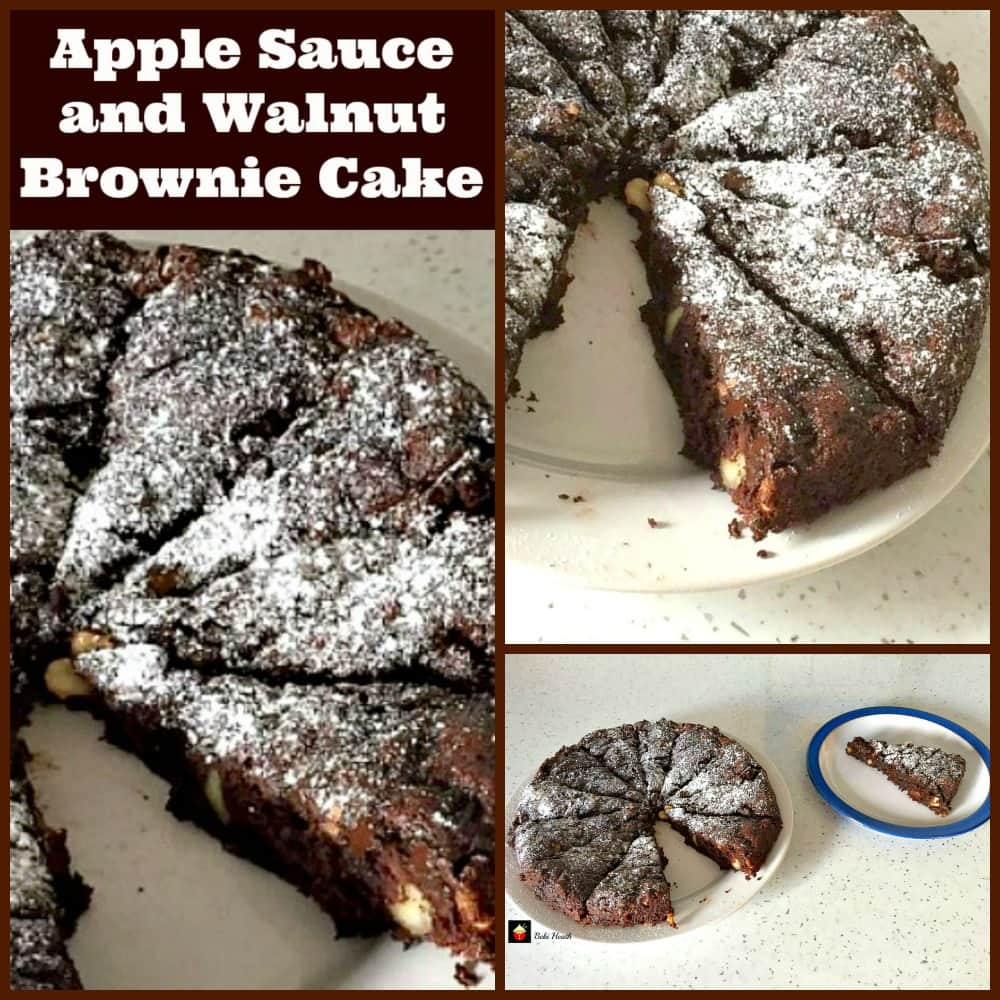 Apple Sauce and Walnut Brownie Cake. A lovely easy recipe using no eggs or fat. It tastes amazing but without all the calories! | Lovefoodies.com