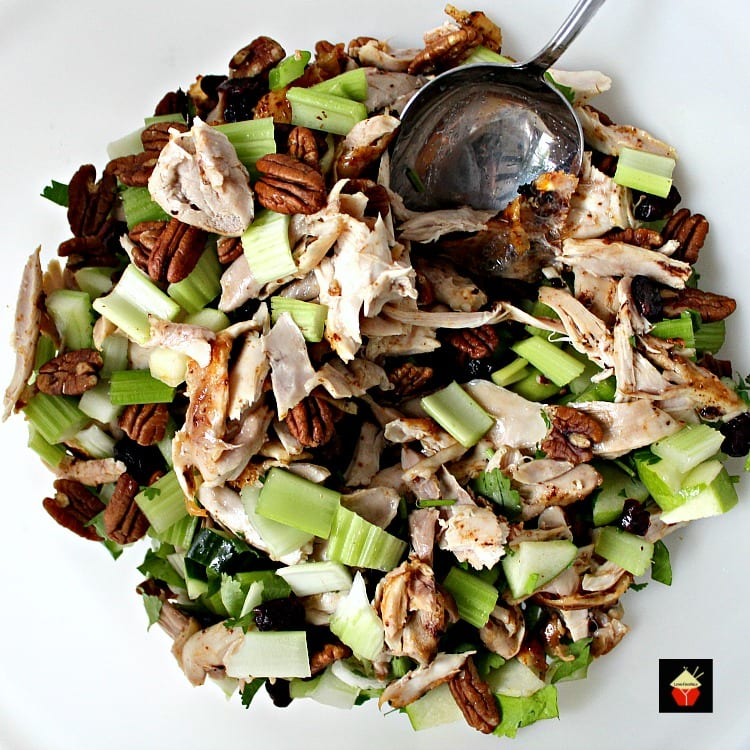 Chicken Party Salad preparing ingredients