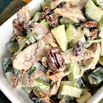 Chicken Party Salad is a great family recipe, very quick and easy to make and great tasting. Serve in lettuce wraps, sandwiches, on it's own, the sky's the limit!