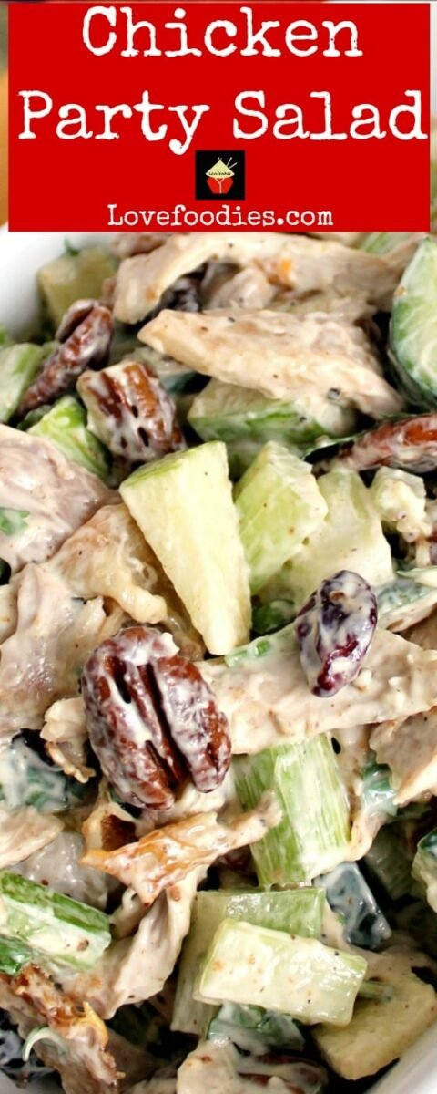 Chicken Party Salad is a great family recipe, very quick and easy to make and great tasting. Serve in lettuce wraps, sandwiches, on it's own, the sky's the limit! | Lovefoodies.com