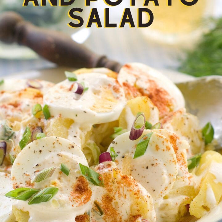 Creamy Egg and Potato Salad, buttery baby potatoes and egg combined in a creamy mayonnaise and pickle sauce, great tasting and popular at potlucks and parties