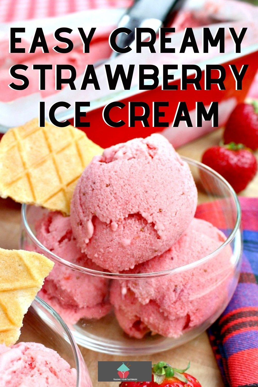 Easy Creamy Strawberry Ice Cream uses regular fresh ingredients to make a creamy ice cream bursting with strawberries. Very easy homemade recipe