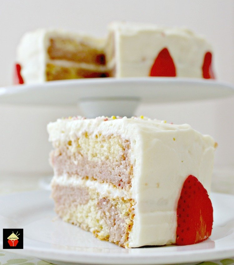 Strawberry and Vanilla Cake. A soft and moist cake bursting with ...