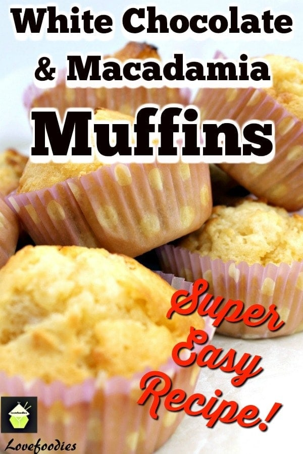 White Chocolate and Macadamia Muffins. Delicious breakfast muffins with a lovely texture. Incredibly simple & easy recipe with great flavors. Option to add nuts to these soft and tender mini cakes.