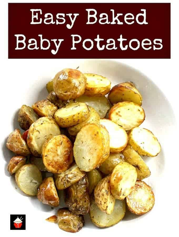 Easy Baked Baby Potatoes. Incredibly easy and absolutely delicious little baked potatoes, perfect as a side dish and goes with any meal! | Lovefoodies.com