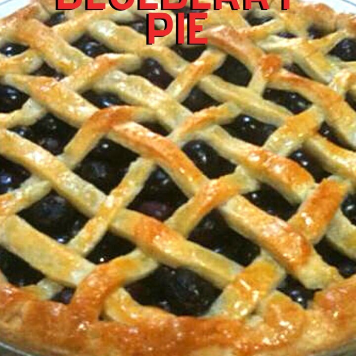 Easy Blueberry Pie, delicious homemade blueberry pie filling in a made from scratch crisp buttery sweet pastry case. An old fashioned pie recipe sure to please!