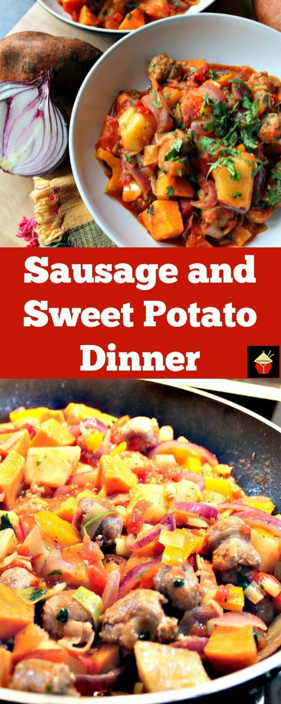 Sausage and Sweet Potato Dinner. A really quick, easy and budget friendly stove top recipe, suitable as a weekday meal or a gathering! Fantastic flavors using lovely fresh ingredients. Options for slow cooker and multi cooker too.