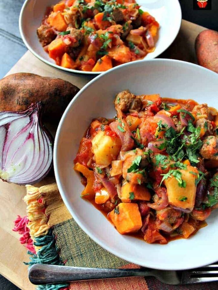 Sausage and Sweet Potato Dinner. A really quick, easy and budget friendly stove top recipe, suitable as a weekday meal or a gathering! Fantastic flavors using lovely fresh ingredients.   Lovefoodies.com