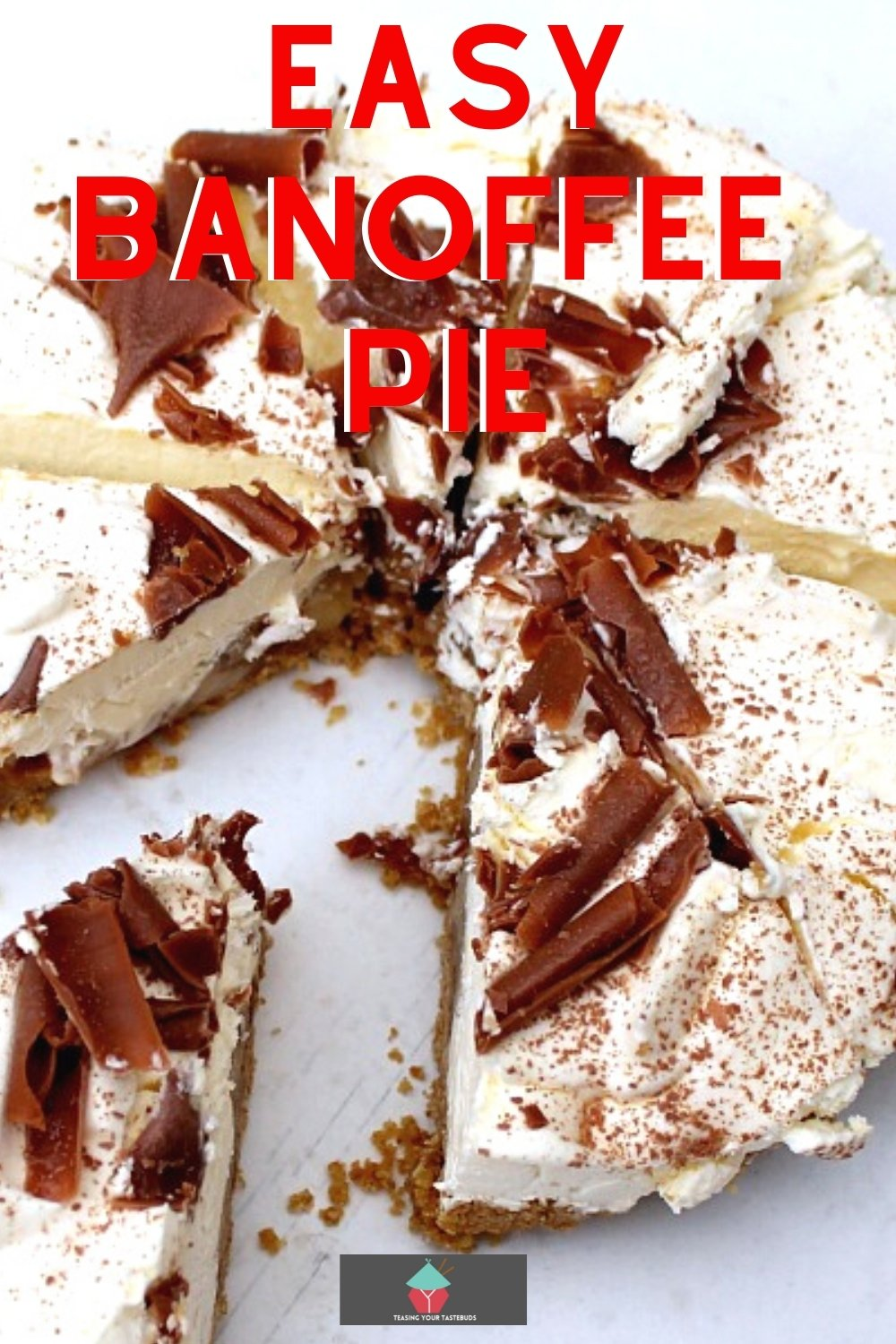 Easy Banoffee Pie. This is a wonderful creamy no bake dessert with layers of banana and caramel. Very easy to make and always popular.