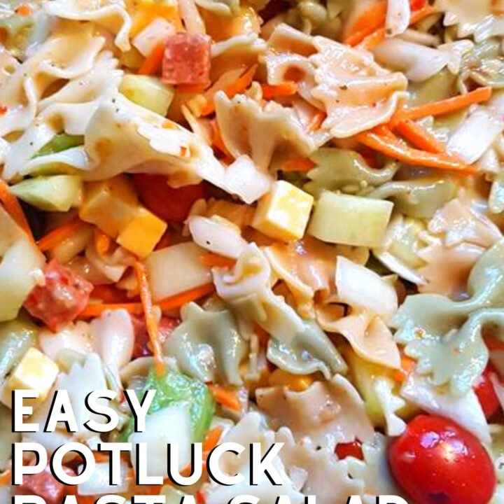Easy Potluck Pasta Salad is a great potluck salad bowl, with olives, cheese, pepperoni, peppers and much more. Easy to transport, by far the best salad to take to a party!