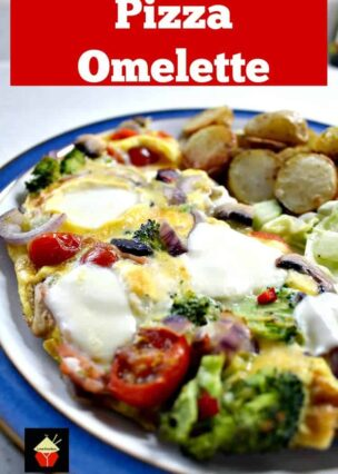 Easy Pizza Omelette is a quick recipe, great for busy weeknights. A variety of vegetables, cheeses and Italian sausage cooked in an omelette, for a delicious dinner
