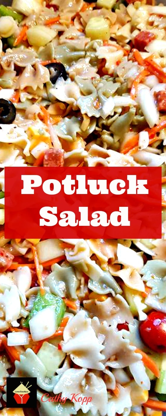 Easy Potluck Pasta Salad! This really is easy and so flexible so you can make it your own!   Lovefoodies.com