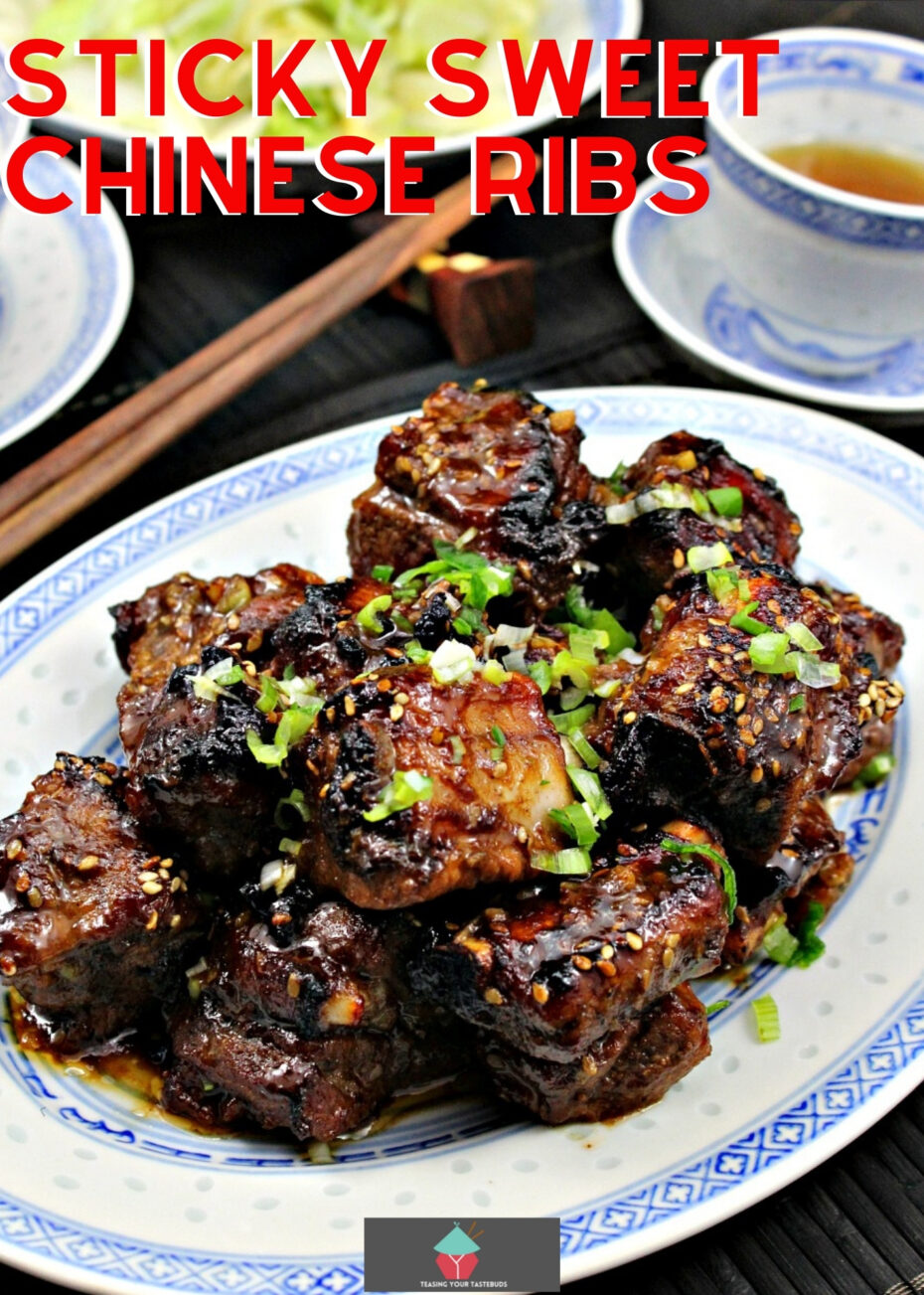 Sticky Sweet Chinese Ribs! Delicious sticky Asian ribs. Great as an appetizer, party food or part of a Chinese Dinner. Very easy to make too!