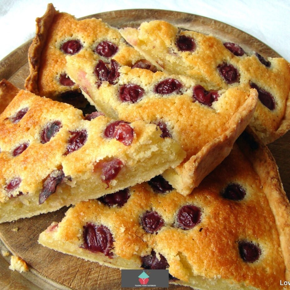 Cherry Frangipane! What a delight to bake and eat. It's a lovely recipe and so full of flavor. The filling is a lovely soft almond cake with cherries on the top, baked in a pastry case. Delicious!
