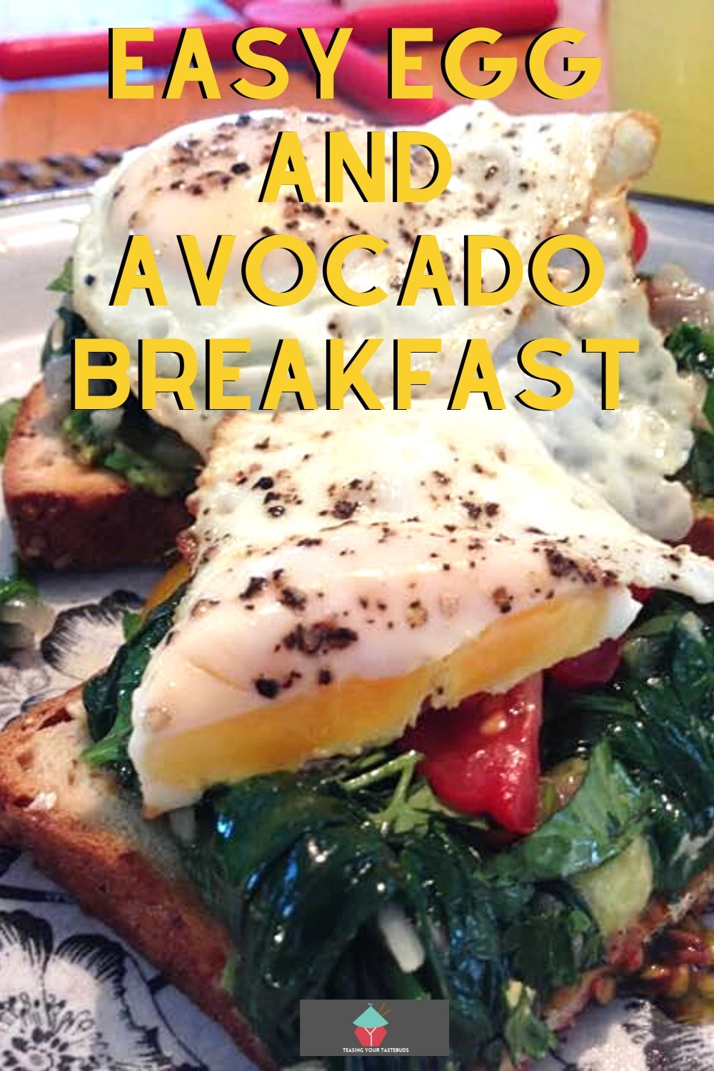 Easy Egg and Avocado Breakfast. A lovely recipe with layers of poached eggs, seasoned spinach, tomatoes and avocado on hot buttered toast