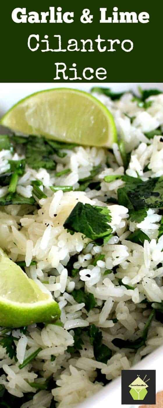 Garlic and Lime Cilantro Rice. A wonderful refreshing side dish using simple fresh ingredients and always popular! A great way of using up any leftover rice too!