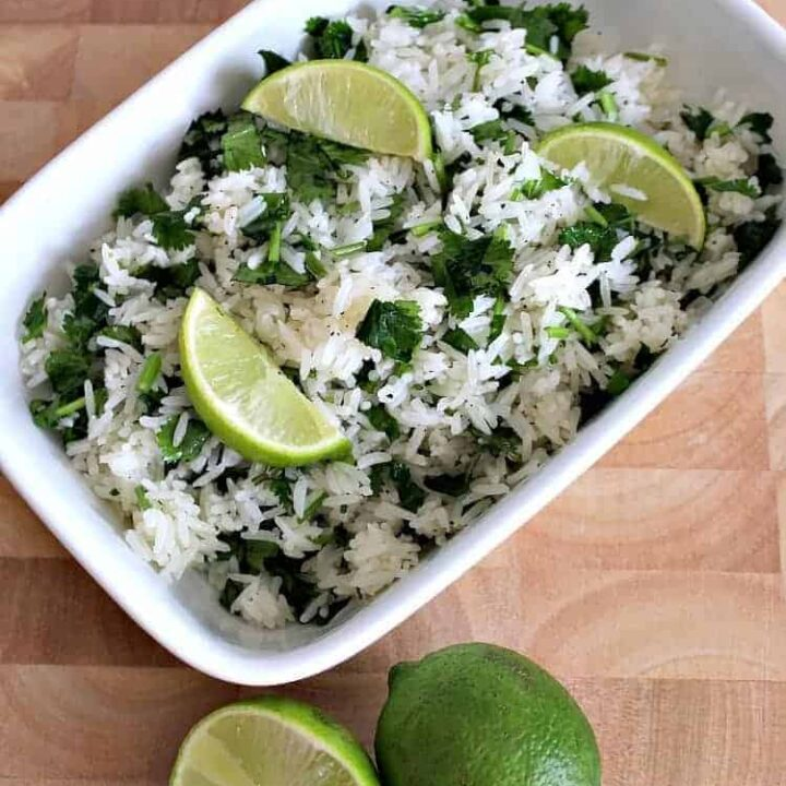Garlic and Lime Cilantro Rice. A wonderful refreshing side dish using simple fresh ingredients and always popular!   Lovefoodies.com