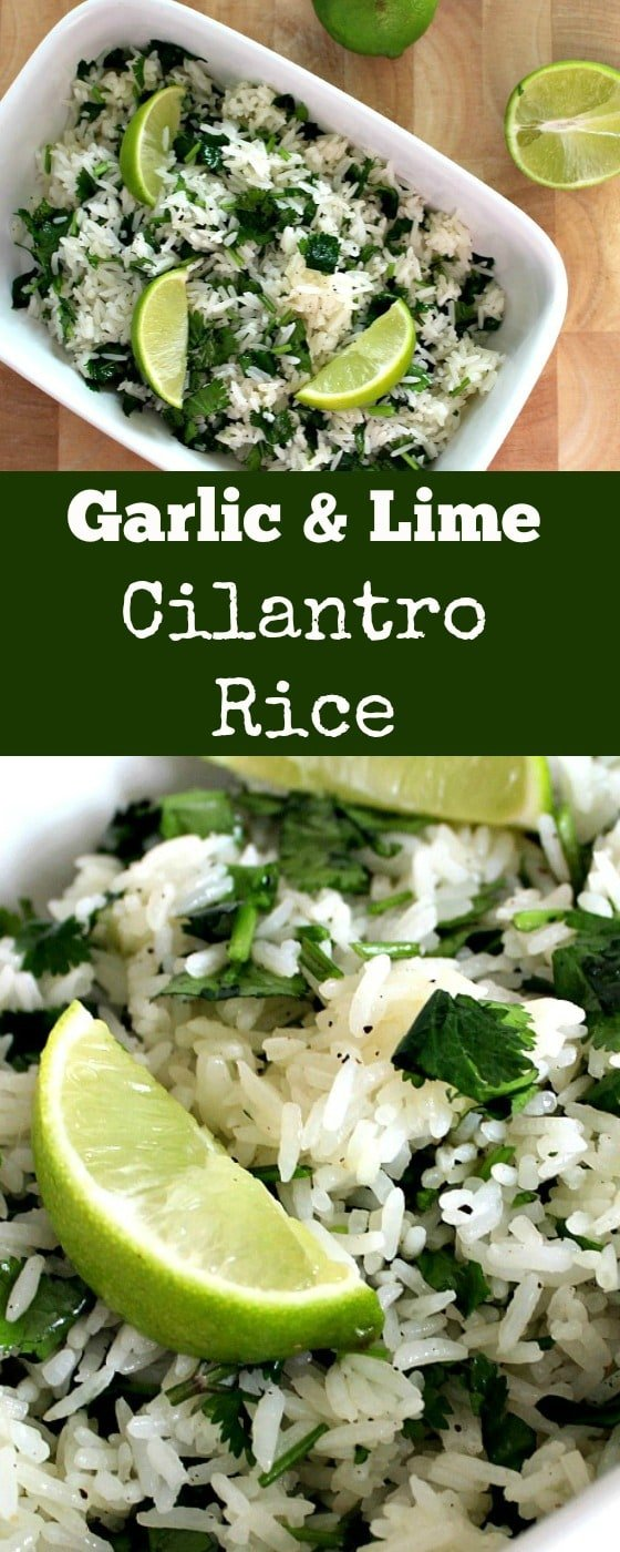 Garlic and Lime Cilantro Rice. A wonderful refreshing side dish using simple fresh ingredients and always popular! | Lovefoodies.com