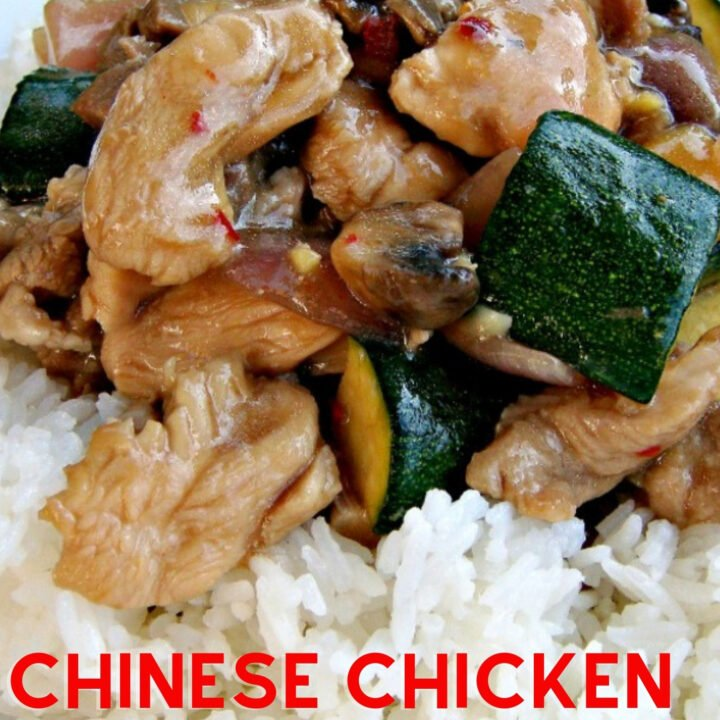Chinese Chicken Stir fry, a quick easy recipe with tender chicken pieces, vegetables and cashew nuts cooked in a delicious Cantonese sauce. Serve with fragrant steamed rice!