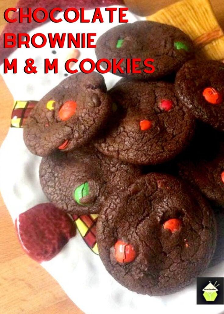 Chocolate Brownie M and M CookiesH