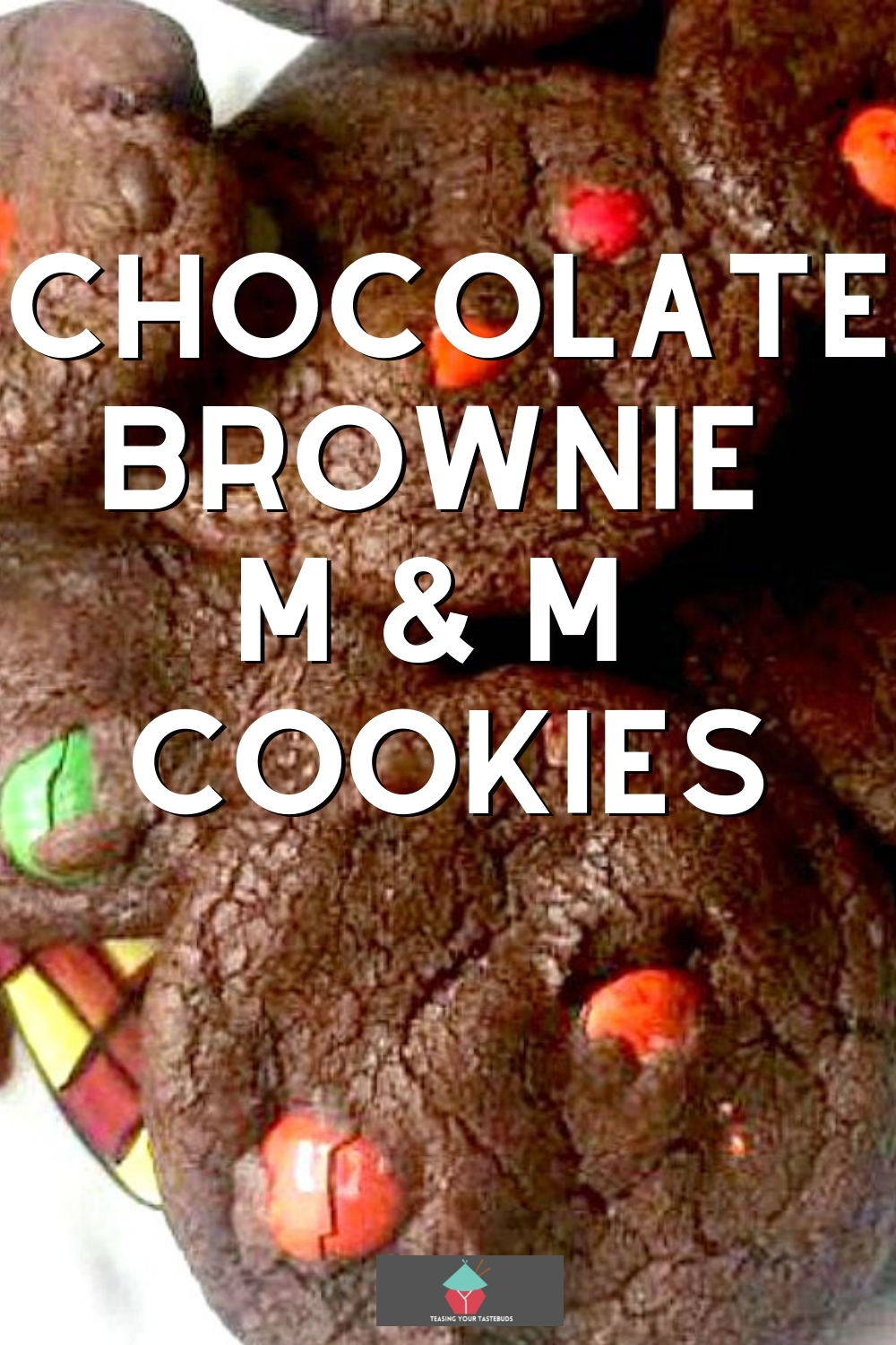 Chocolate Brownie M and M Cookies, using a cake box mix! Easy recipe and quick to make.