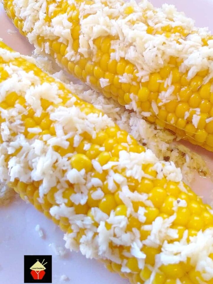 Coconut Corn. Corn cooked in a rich and creamy coconut broth gives a wonderful flavor to a perfect side dish.| Lovefoodies.com