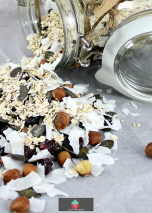 Coconut and Cranberry Granola. A really flexible recipe allowing you to choose the ingredients you love! Make up as lovely gifts or prepare for your own eating.