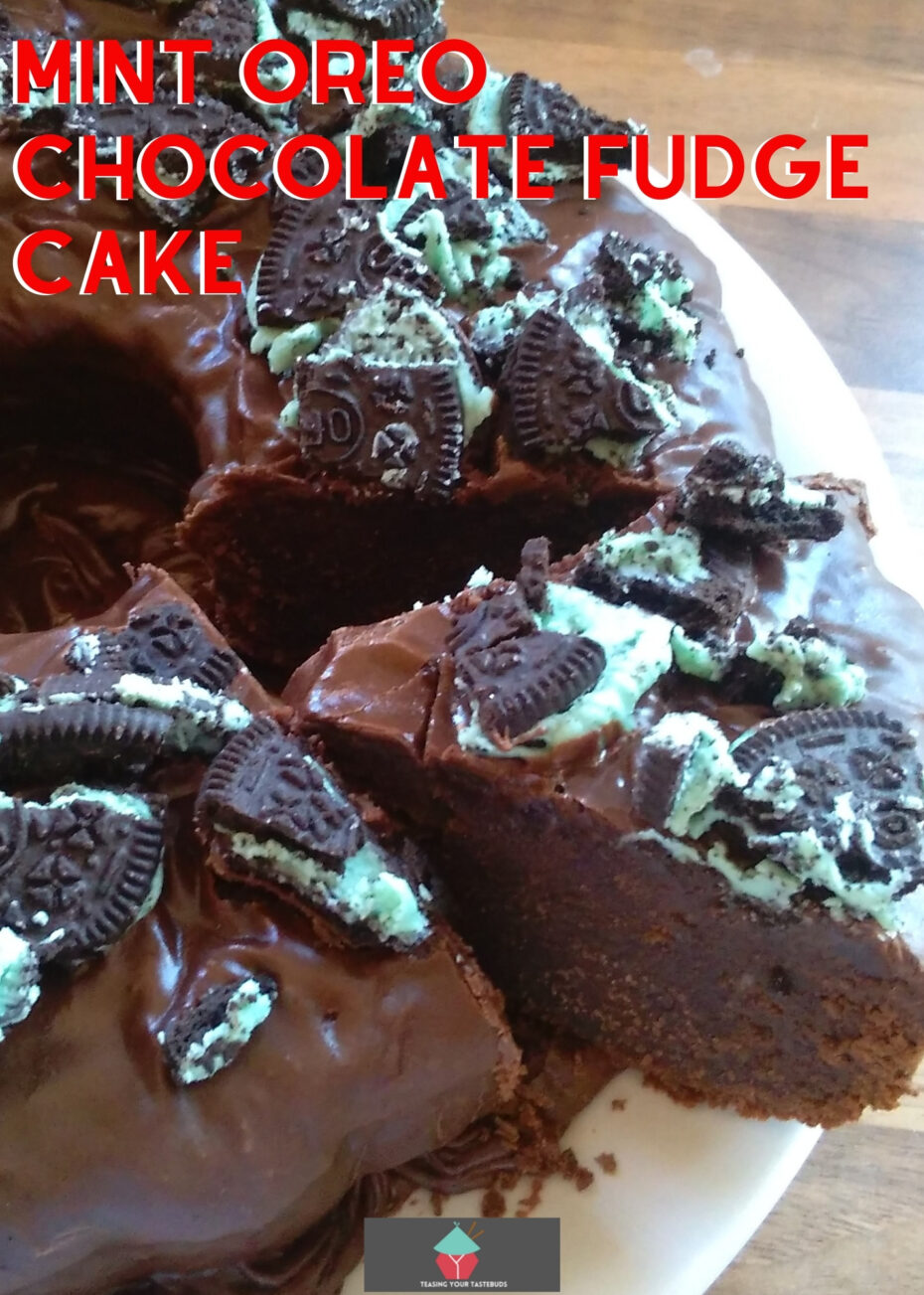 Mint Oreo Chocolate Fudge Cake. A perfect cake for all chocolate lovers! Made from scratch and really easy recipe. Great for parties, pot lucks and celebrations!