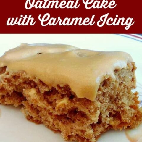 Old fashioned Oatmeal Cake with Caramel Icing. A wonderful moist, fluffy, soft sheet cake, using oats and apple sauce. Tastes like carrot cake! Easy homemade recipe and a family favorite.