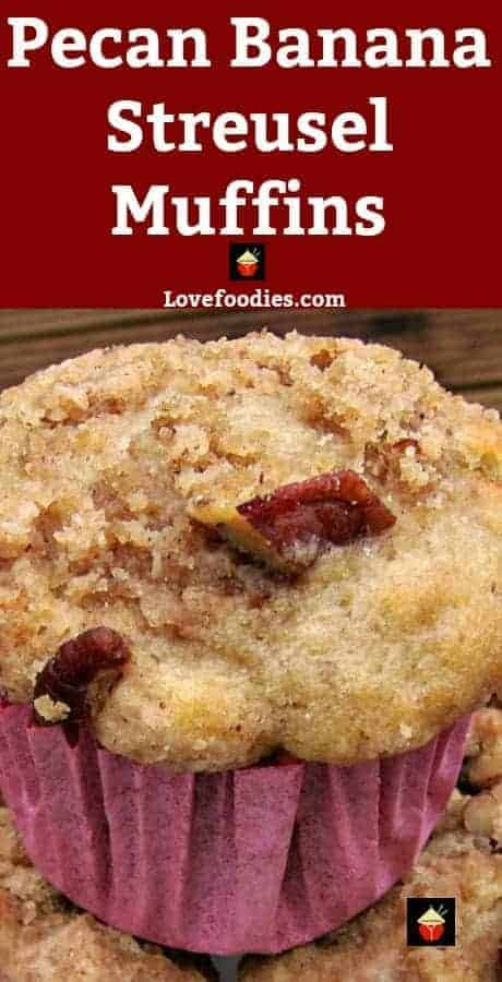 Pecan and Banana Mini Cakes are wonderful soft, moist and full flavored with a great streusel topping. Also nice as a regular loaf size.