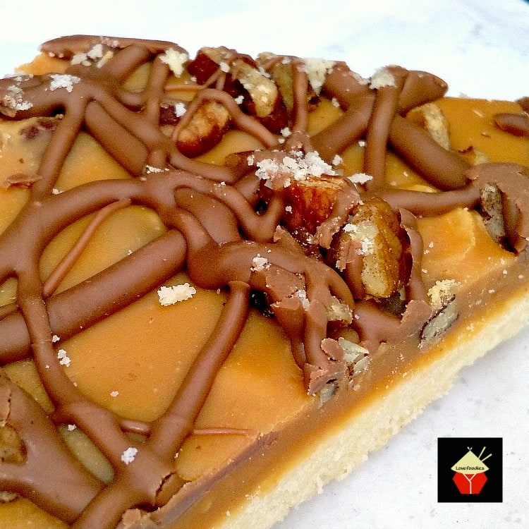 Salted Caramel Chocolate Pecan Shortbread. A delicious recipe, with great flavors and textures!  Lovefoodies.com
