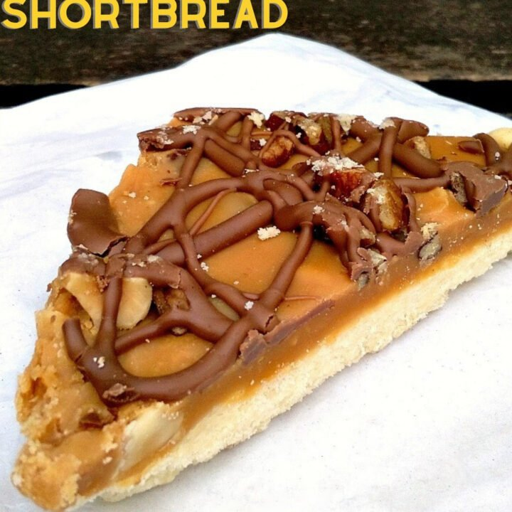 Pecan, Salted Caramel And Chocolate Shortbread. Pecan, salted caramel, and chocolate shortbread. Delicious layers of pecans, salted caramel and chocolate on a crunchy butter shortbread base. A classic afternoon tea recipe.