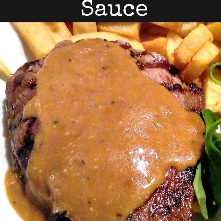 Black Peppercorn Sauce, Sauce au Poivre is a classic peppery creamy sauce, used mainly with pan fried steak. Very quick, easy homemade recipe, made from scratch.