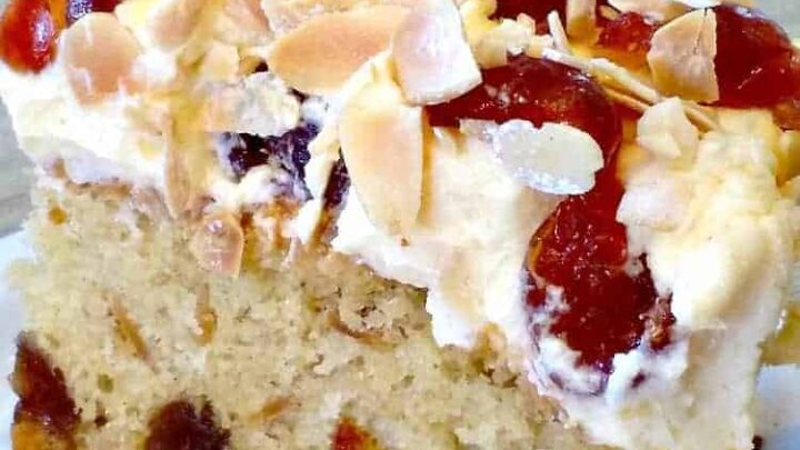 Cherry Almond Cake with Cream Cheese Frosting