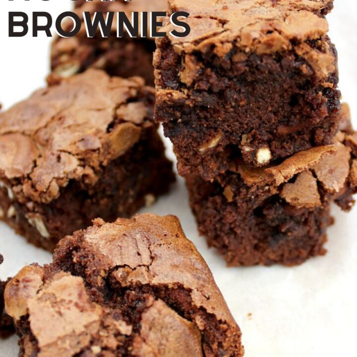 Chocolate Mocha Brownies are wonderfully soft and chewy, flavored with coffee and a sprinkling of white chocolate. Perfect with a cup of coffee or glass of milk!