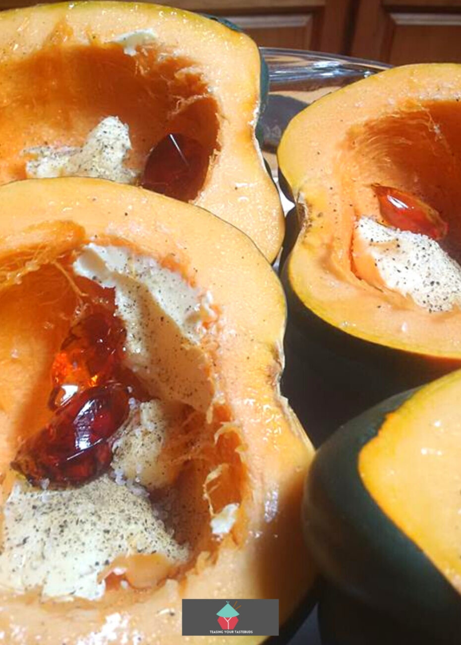 Roasted Maple Jelly Squash, showing butter and maple jelly